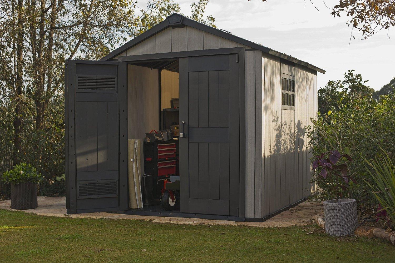 Keter oakland 757 quality plastic sheds for Caseta pvc exterior