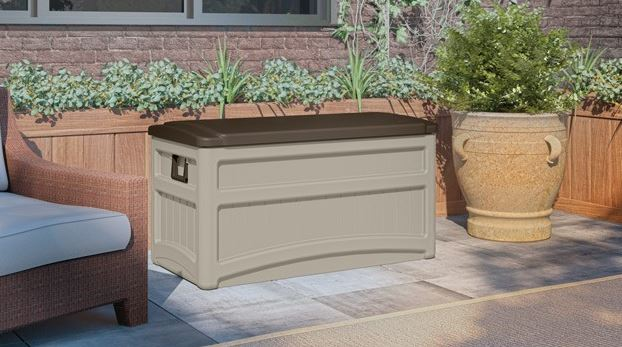 Suncast 73 gallon deck box taupe
