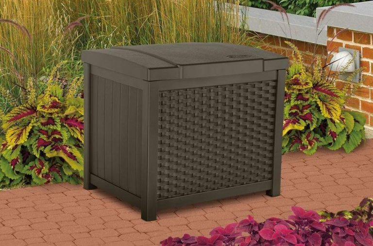 Suncast storage box brown
