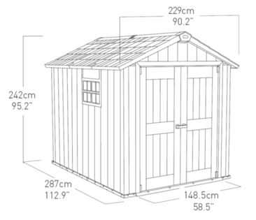 Oakland 7.5 x 9 ft Shed Measurements