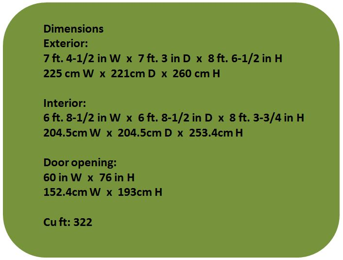 Cascade 7 x 7 ft Shed Measurements