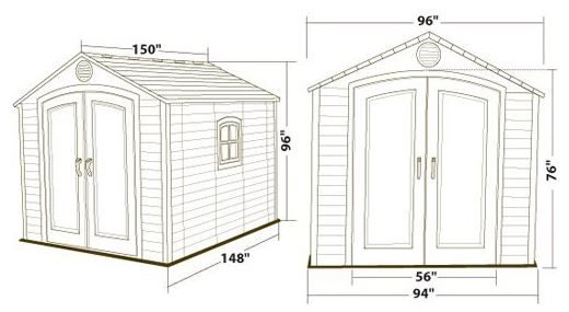 Measurements of the Lifetime 8 x 12.5ft Shed