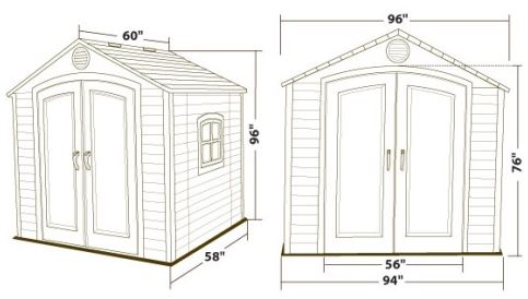 Lifetime 8 x 5 ft Shed Measurements