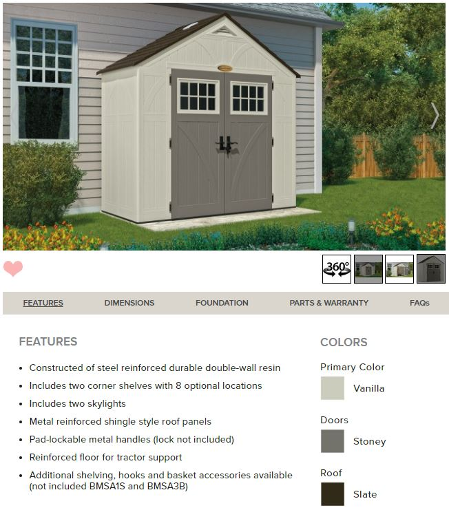 Suncast Tremont 8 x 4 ft Shed