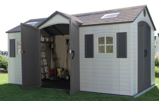 Inside the Lifetime 15 x 8 ft Dual Entry Shed