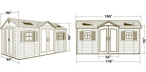 Lifetime 15 x 8 ft Dual Entry Shed Measurements