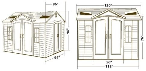 Lifetime 10 x 8 ft Dual Entry Measurements