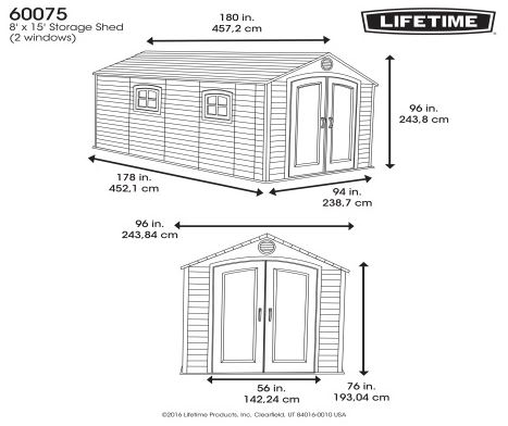 Lifetime 8 x 15 ft Measurements