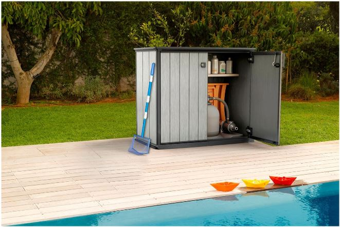 Stylish Pool Equipment Storage