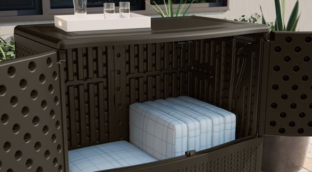 Doors Operate Independently of the Lid - Extra Large Patio Cushion Storage - Quality Plastic Sheds
