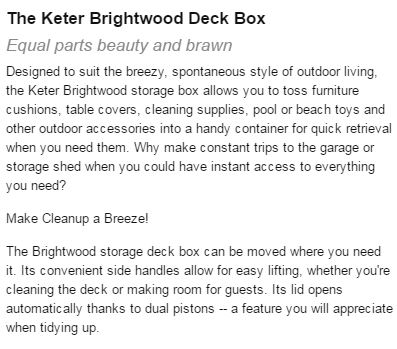 Keter's Brightwood Description