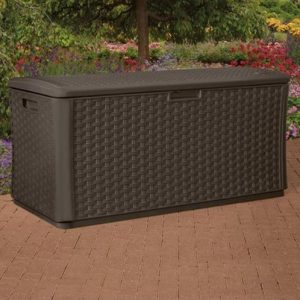 ... Suncast Resin Wicker Deck Box 134 By Outdoor Wicker Deck Box Storage  Quality Plastic Sheds ...