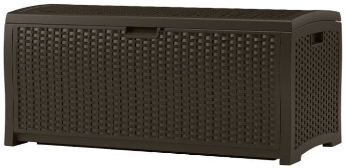 Suncast 73 Gallon Resin Wicker Storage Box