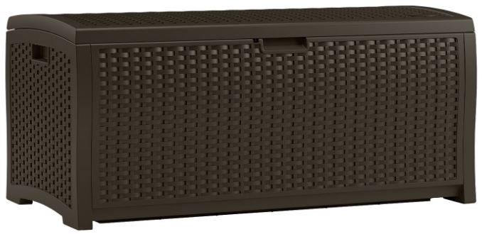 Suncast 73 Gallon Resin Wicker Deck Box Composition