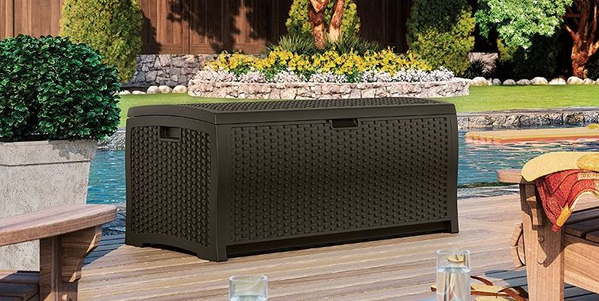 Suncast 73 Gallon Resin Wicker Deck Box