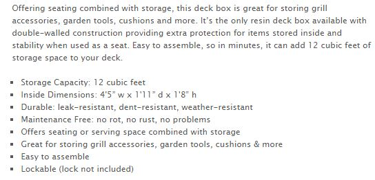 Rubbermaid Large Deck Box Measurements