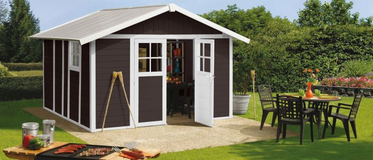 Deco PVC Garden Summerhouse displayed in Mocha-Brown