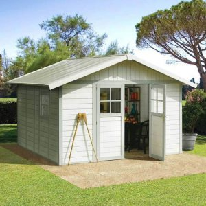 Deco PVC Garden Summerhouse displayed in White and Green/Grey