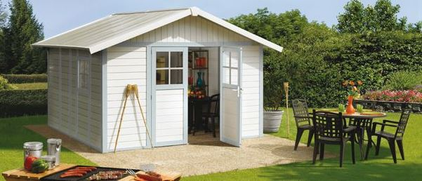 Deco PVC Garden Summerhouse displayed in White and Blue/grey