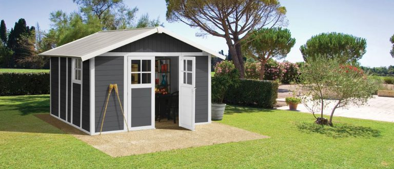 Deco PVC Garden Summerhouse displayed in Stylish Grey with White Trim