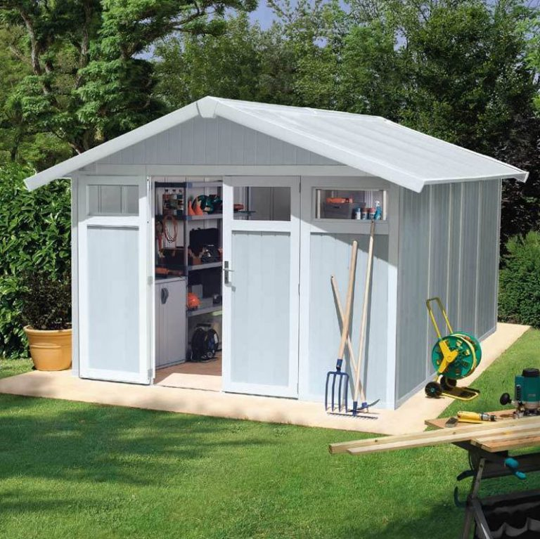 Grosfillex's 11 m² Utility Shed in Pale Blue