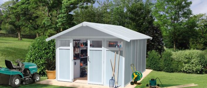 Grosfillex's 11 m² Utility Shed - Pale Blue