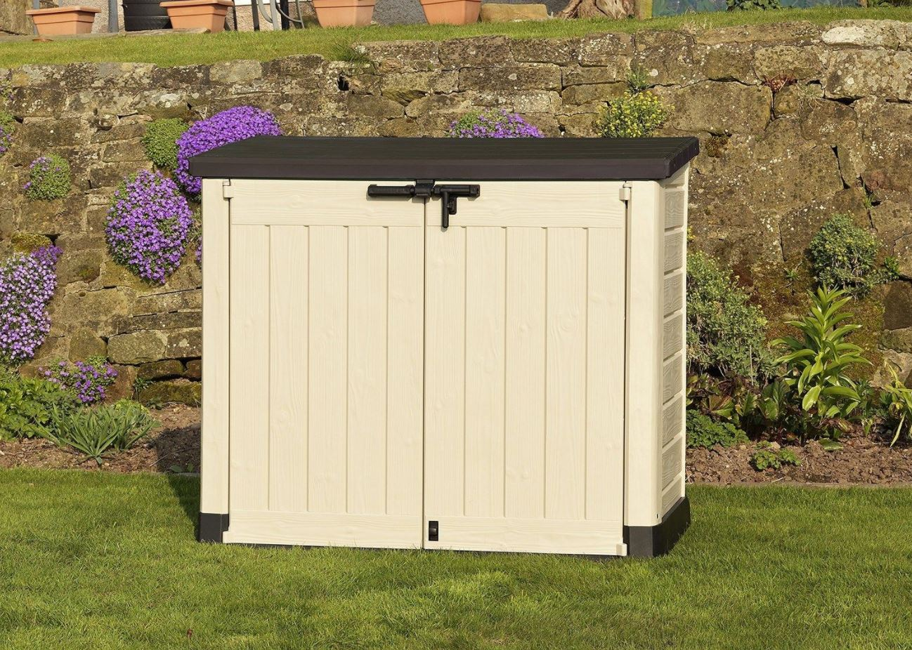 Large outdoor storage containers weather resistant sheds for Large outdoor sheds