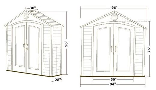 Lifetime 8 x 2.5 ft Shed Measurements