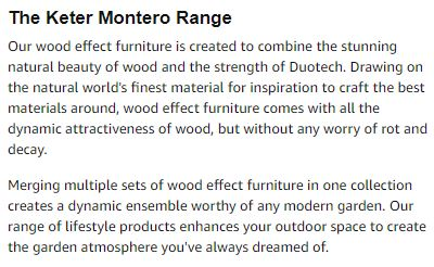 Keter's Description regarding their Montero Range