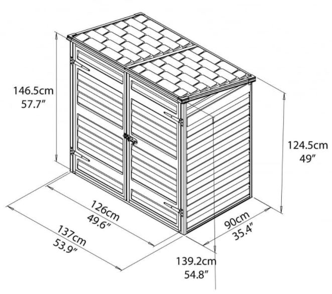 Palram Wheelie-Bin Store Measurements