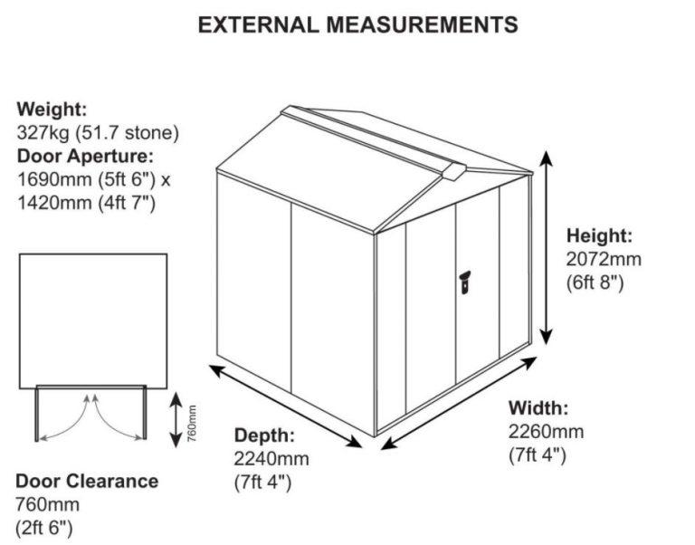 Gladiator 7 x 7 ft Measurements