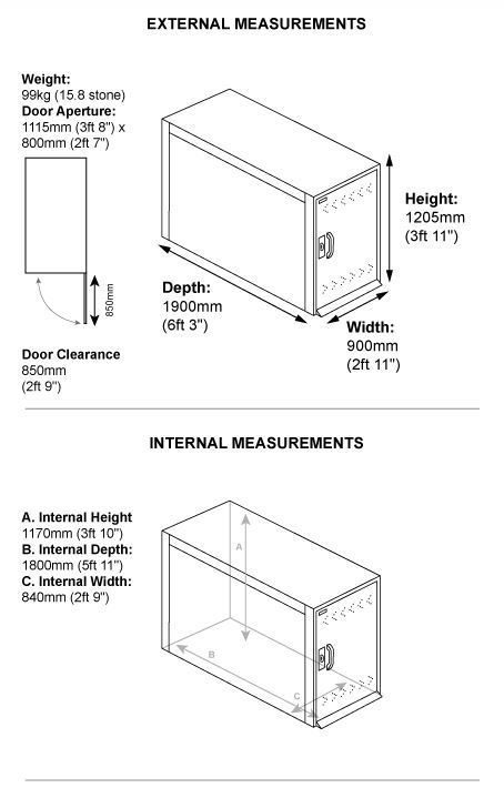 Asgard Single Bike Locker Dimensions
