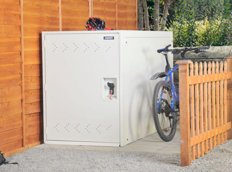 Outdoor Bike Storage Solutions - Asgard 2-Bike Locker - Ivory