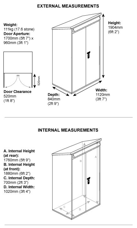 Compact Tool Shed Measurements