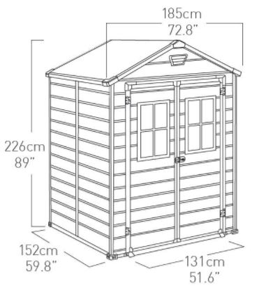Scala 6 x 5 ft Shed Measurements