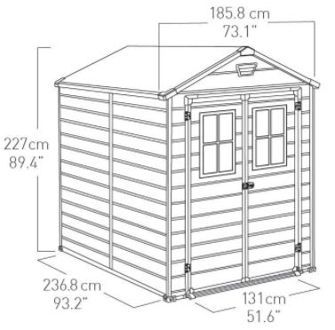 Scala Shed 6 x 8 ft Measurements