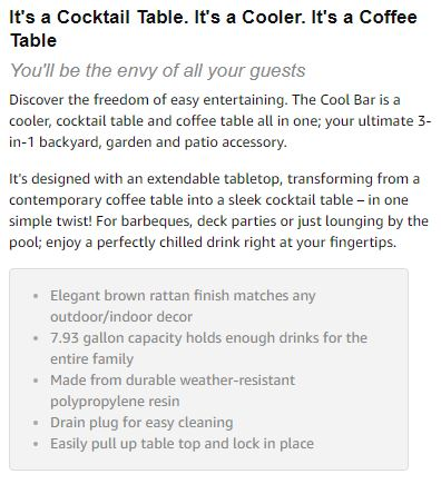Keter Cool-Bar Description
