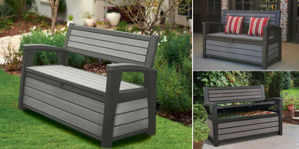 Keter Grey Rattan Effect Garden Storage Cube Outdoor Patio Seat Stool Cushion