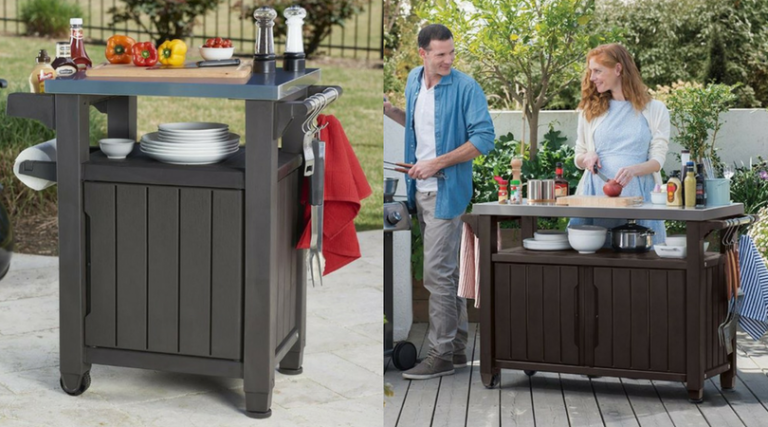 Outdoor BBQ Storage Table