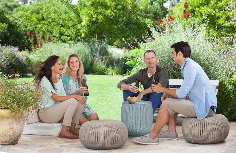 Round Outdoor Ottomans - KNIT Cozy Urban Set