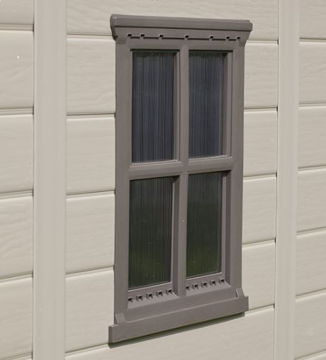 Window can be incorporated on either shed side