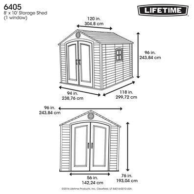 Lifetime 8 x 10 ft Measurements