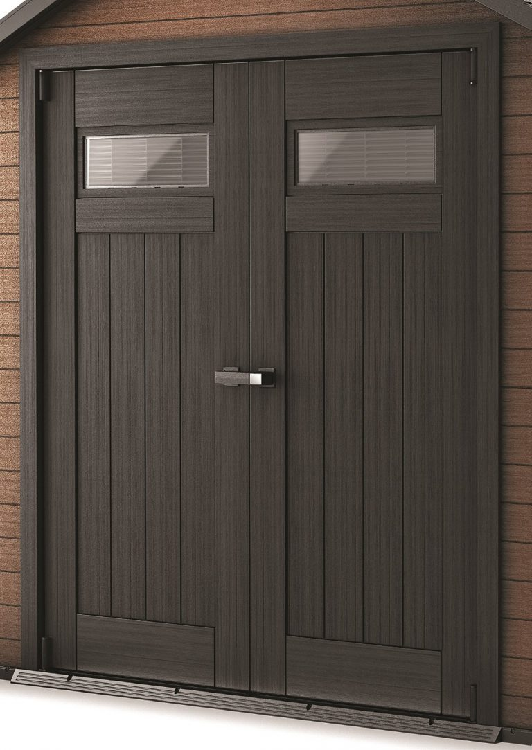 Rot-resistant double doors deliver wide access