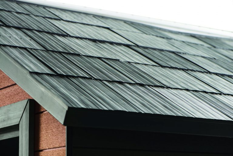Stylish weather-resistant slate-tiled roof simulation